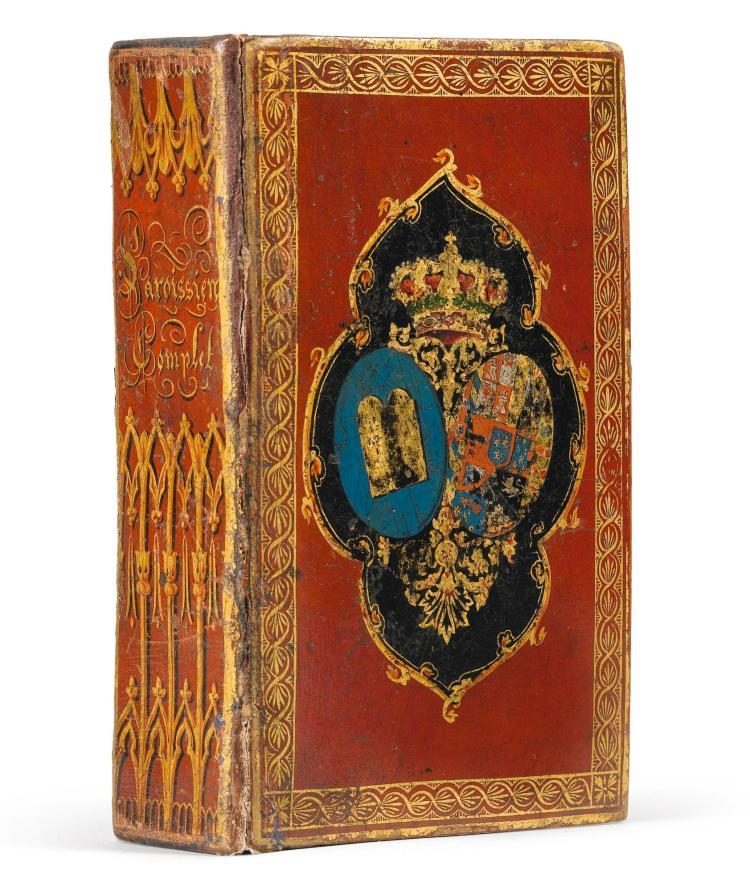 [RELIURE AU VERNIS]. LE PAROISSIEN COMPLET, 1826. RARE RELIURE AU VERNIS, AUX ARMES DE LOUIS-PHILIPPE.