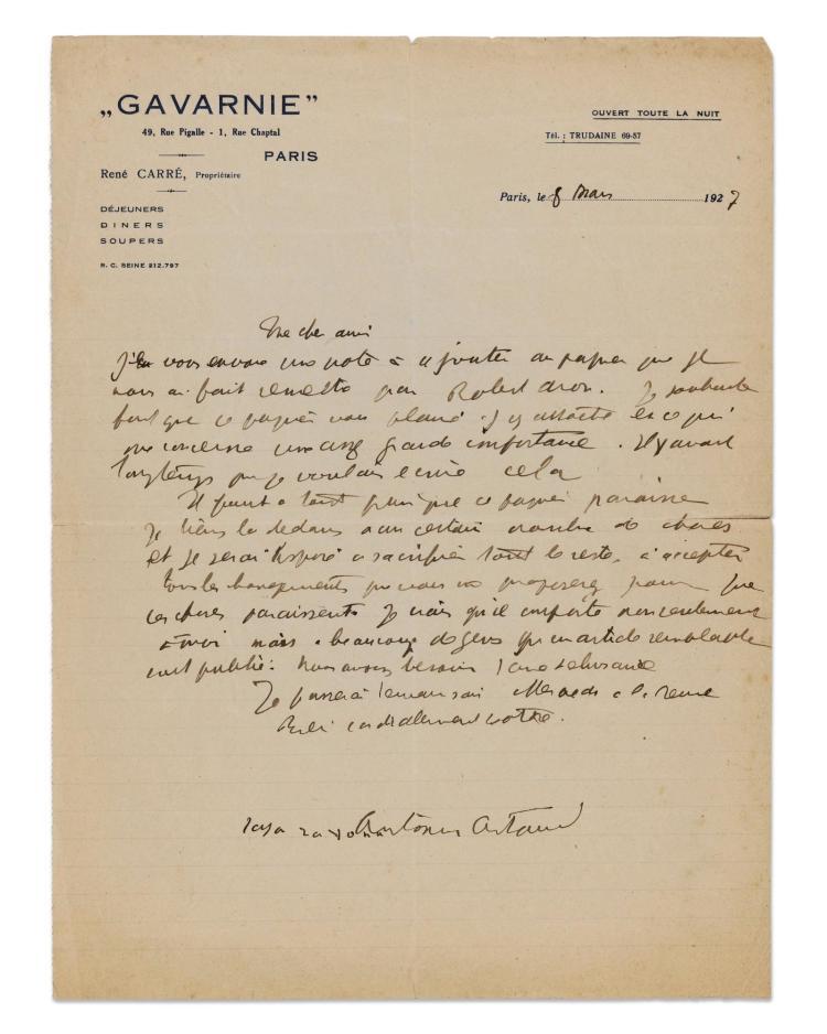 ARTAUD. LETTRE À PAULHAN, 8 MARS 1927. 1 P. SUR LA FIN DU SURRÉALISME.