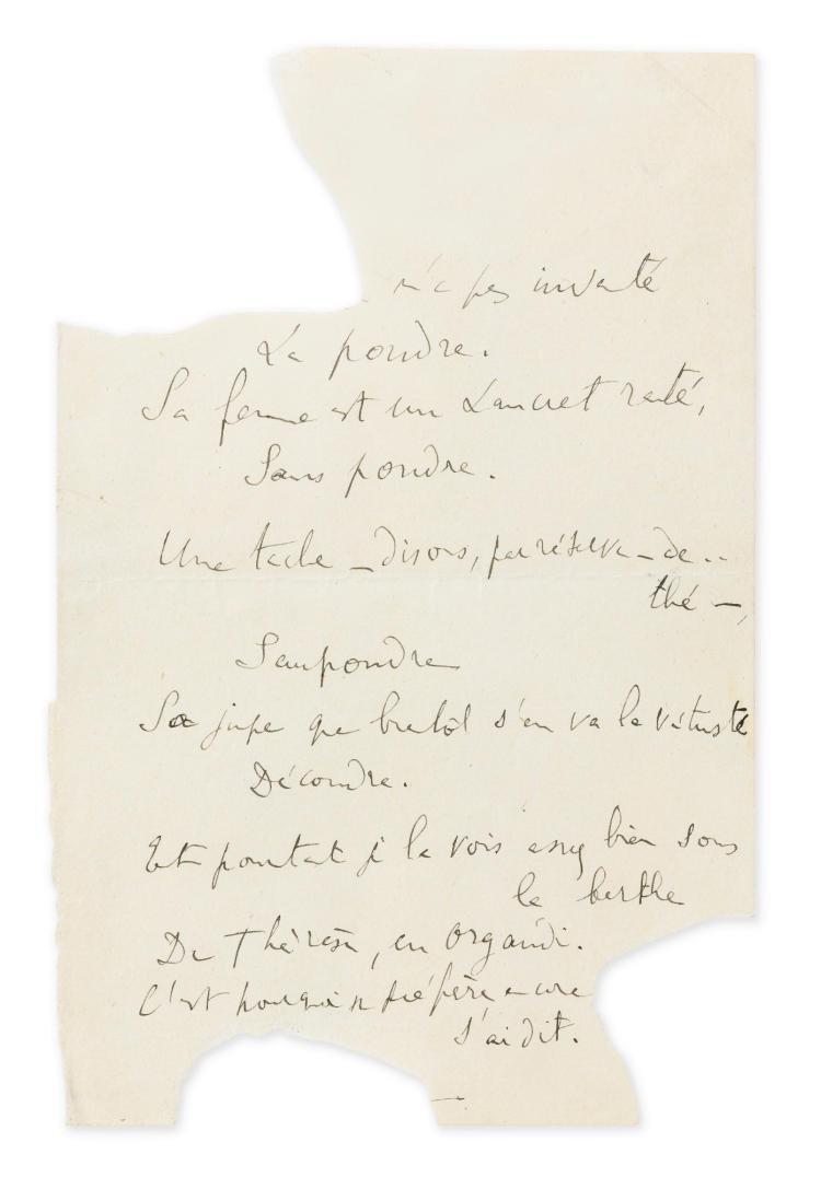 PROUST. CURIEUX POÈME ENVOYÉ À REYNALDO HAHN. [1907].