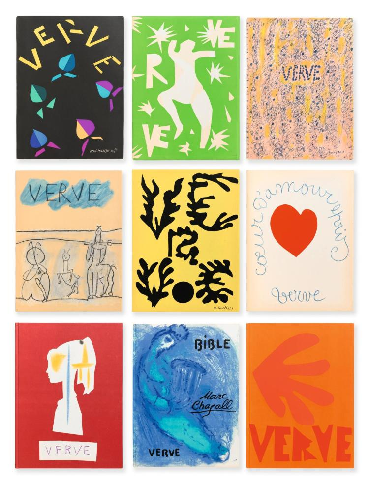 [CHAGALL, MATISSE, PICASSO, ETC.] VERVE. COLLECTION COMPLÈTE. N° 1-38, EN 26 VOLUMES.
