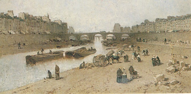 EUGENE CICERI (FRENCH 1813-90) A VIEW OF PARIS WITH THE QUAI DES CELESTINS AND THE ILE SAINT LOUIS