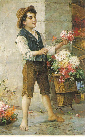 JOHANN SUSS (AUSTRIAN 1857-1937) THE FLOWERSELLER