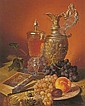 JOSEPH SCHUSTER (AUSTRIAN 1812-90) STILL LIFE WITH FRUIT AND ARTEFACTS, Joseph (1812) Schuster, Click for value
