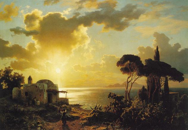 AUGUST WILHELM LEU (GERMAN 1819-97) SOUTHERN ITALIAN VILLAGES AT SUNSET