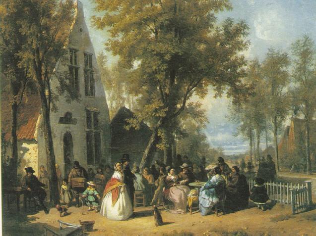 FLORENT NICHOLAS CRABEELS (BELGIAN 1829-96) VILLAGE FESTIVITIES