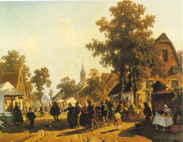 FLORENT NICHOLAS CRABEELS (BELGIAN 1829-96) MARKET DAY