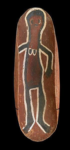 DONKEYMAN LEE TJUPURRULA , 1925 - 1993 PAINTED COOLAMON Natural earth pigments on natural softwood