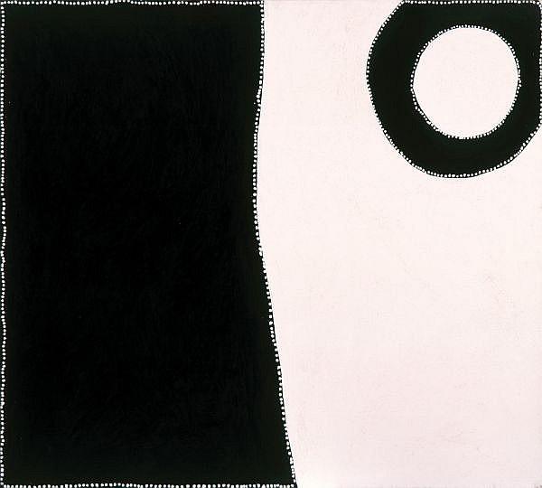 PADDY BEDFORD , CIRCA 1922-2007   BIRIYALJI - FISH HOLE Natural earth pigments and synthetic binder on linen