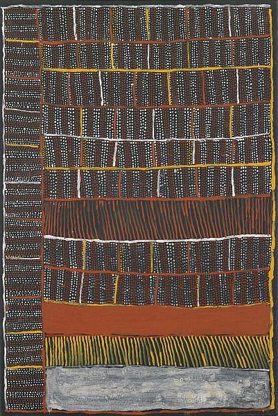 KUTUWALUMI PURAWARRUMPATU (KITTY KANTILLA) , CIRCA 1928-2003   PARLINI JILAMARA Natural earth pigments and synthetic binder on linen