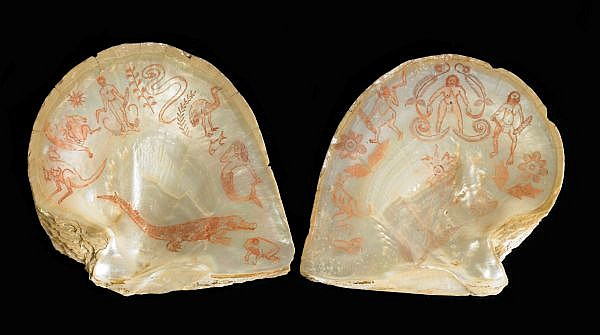 BUTCHER JOE NANGAN , CIRCA 1910-1989 A PAIR OF ENGRAVED PEARL SHELLS   pearl shell, infilled with ochre