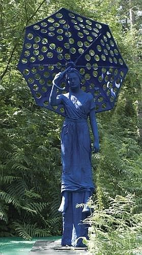 OFRA ZIMBALISTA (B1939) : WOMAN WITH UMBRELLA MEASUREMENTS 260cm.; 102 .5 ins high DESCRIPTION powder coated aluminum monogrammed OZ, edition 5 out of 7 dated 1999