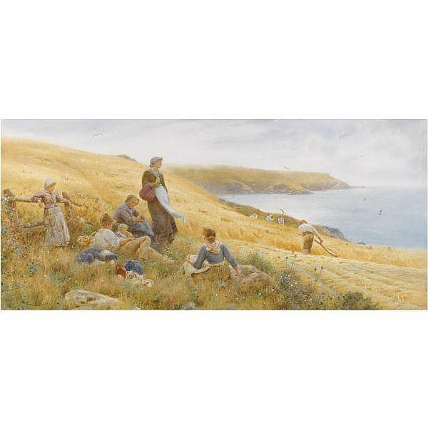 Thomas James Lloyd , 1849-1910 AUGUST, AT WEMBURY NEAR PLYMOUTH   watercolour with bodycolour