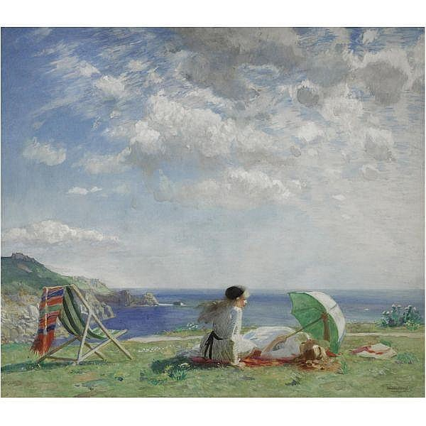 Dame Laura Knight, R.A., R.W.S. , 1877-1970 wind and sun watercolour with bodycolour over pencil on linen