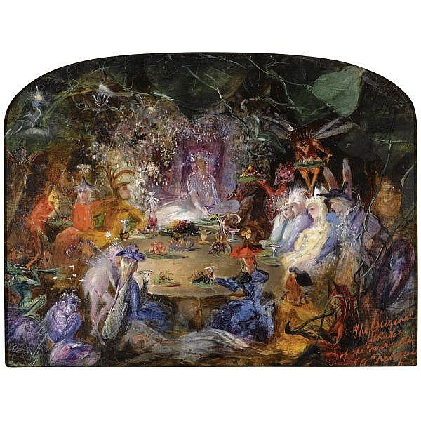 John Anster Fitzgerald , 1832-1906 sketch for the fairy's banquet (recto); giving alms (verso) oil on board