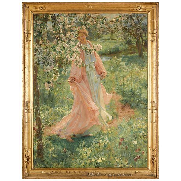 - Herbert Arnould Olivier , 1861-1952 summer is icumen in oil on canvas