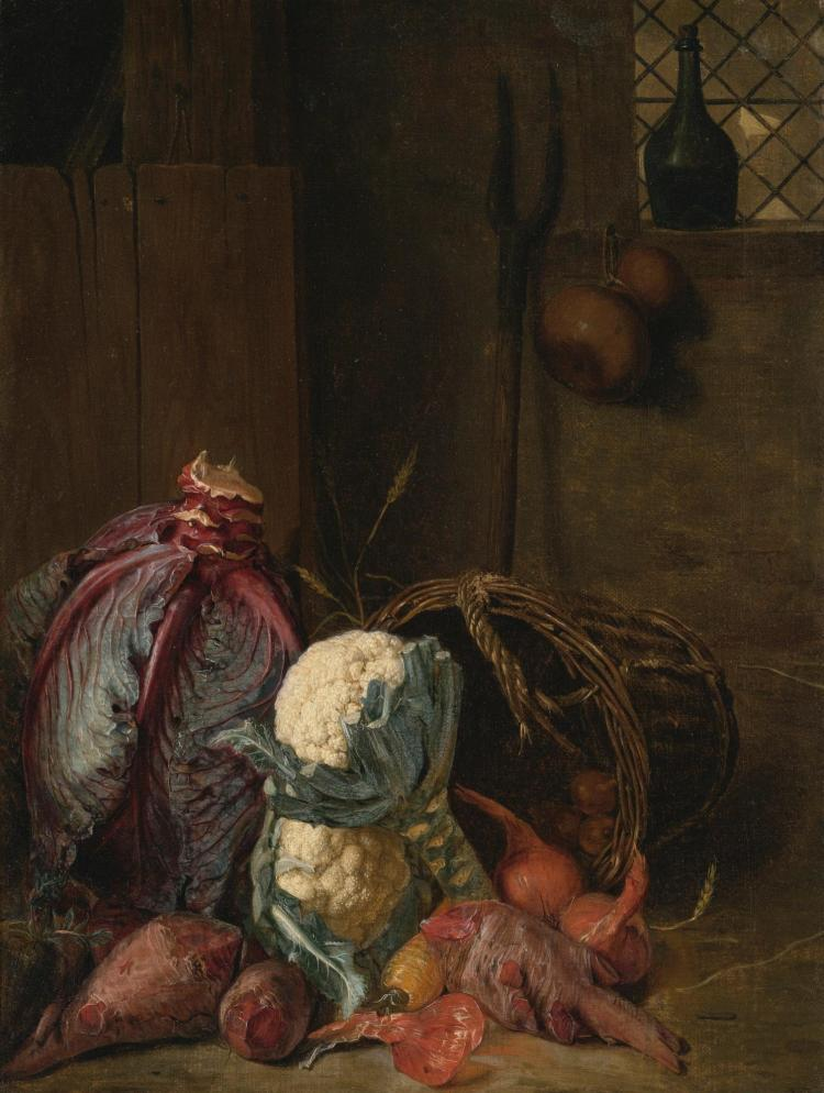 PETER SNIJERS   A Vegetable Still Life in an Interior with a Red Cabbage, together with Cauliflower, Beetroot and Onions in a Wicker Basket