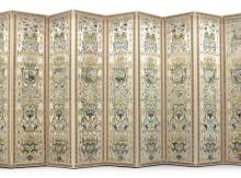 A SET OF FOUR ITALIAN NEEDLEWORK COVERED THREE-FOLD SCREENS <BR>18TH CENTURY |