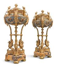A PAIR OF LOUIS XVI STYLE GILT BRONZE AND MARBLE BRÛLES PARFUM<BR>FRANCE, CIRCA 1880 |