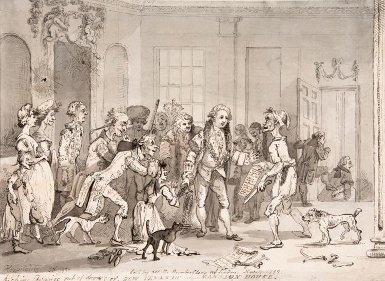 NIXON, 'HOSPITALITY KICKING AVARICE OUT OF DOORS...', INK AND WATERCOLOUR, 1799
