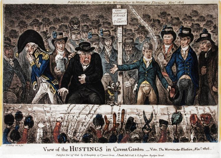 GILLRAY, 'VIEW OF THE HUSTINGS IN COVENT GARDEN', ETCHING, 1806