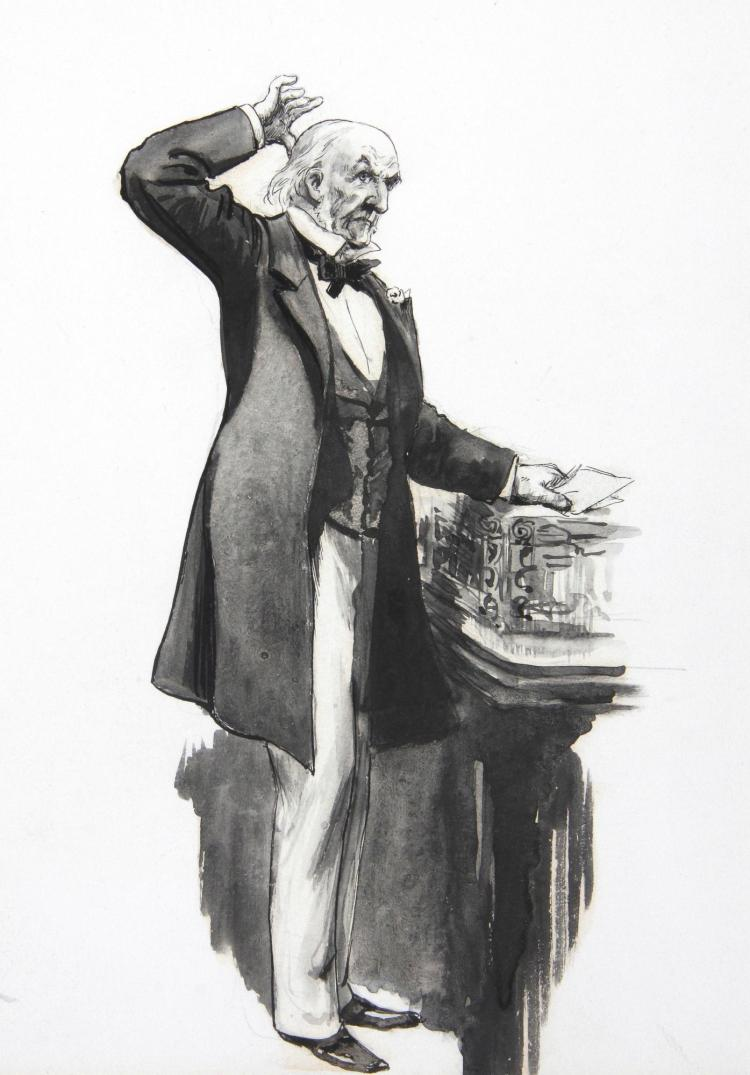 FURNISS, 'GLADSTONE AT THE DESPATCH BOX', INK, 1901