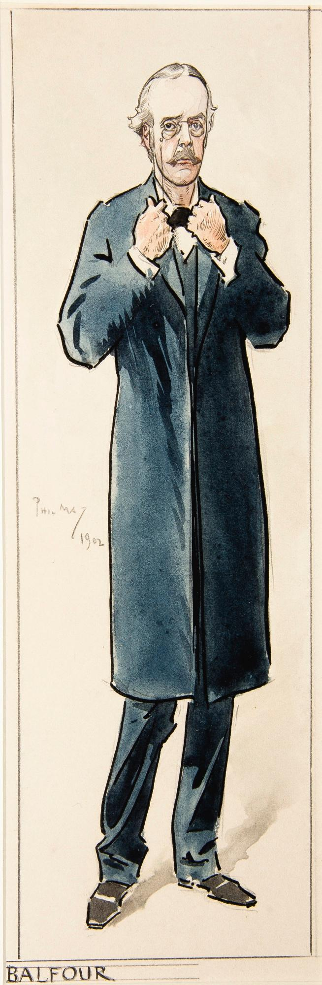 MAY, 'BALFOUR', INK AND WATERCOLOUR, 1902