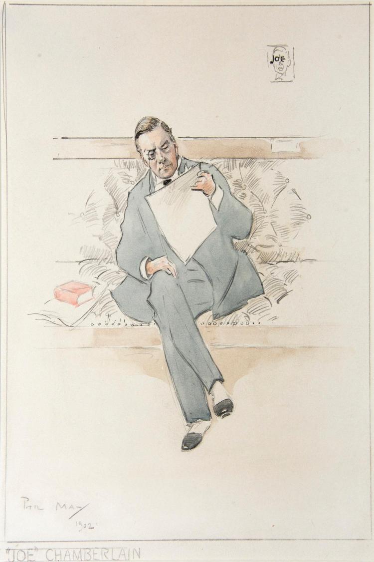 MAY, 'JOE CHAMBERLAIN', PENCIL AND WATERCOLOUR, 1902