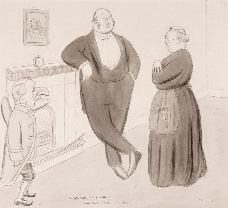 BEERBOHM, 'IN JOHN BULL'S SERVANTS' HALL', INK AND WATERCOLOUR, 1913