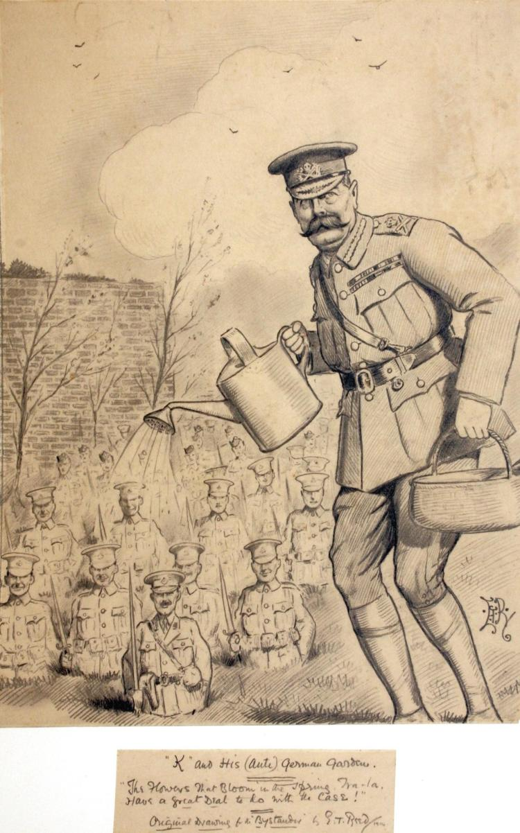 REED, 'K AND HIS (ANTI-) GERMAN GARDEN', PENCIL, 1914
