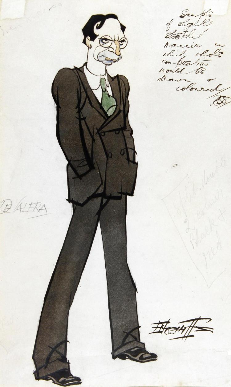 SHERRIFFS, 'EAMON DE VALERA', INK AND WATERCOLOUR, 1929