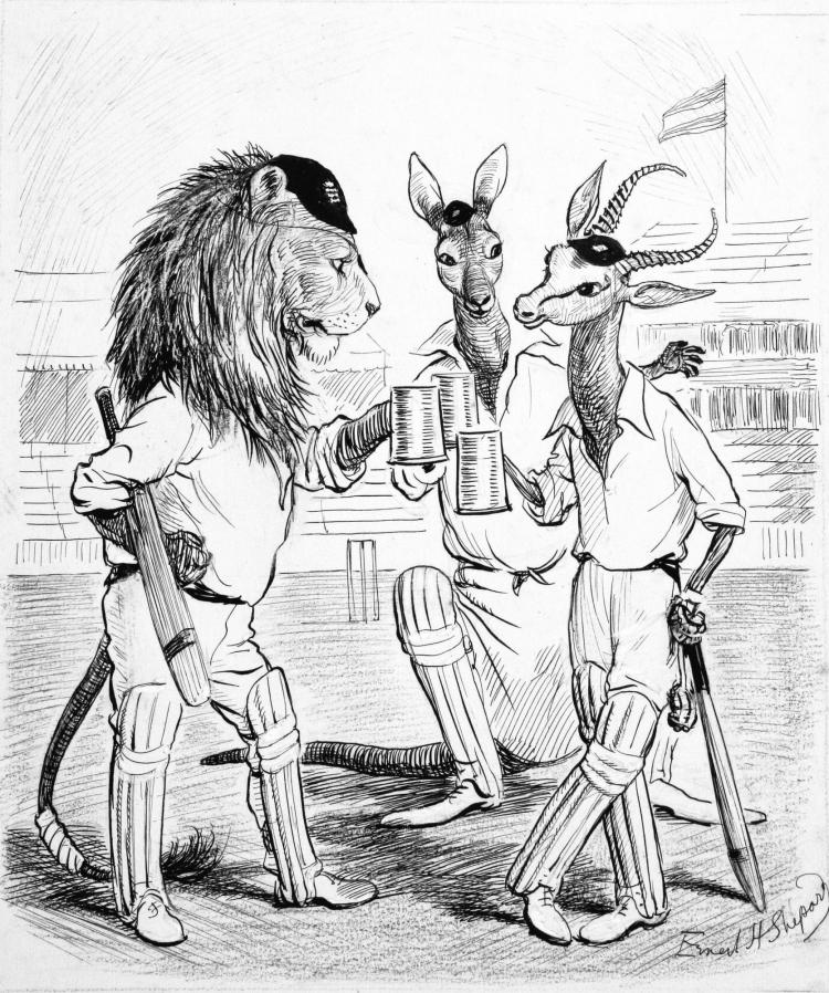 SHEPARD, 'CRICKETERS ALL...', INK, 1935