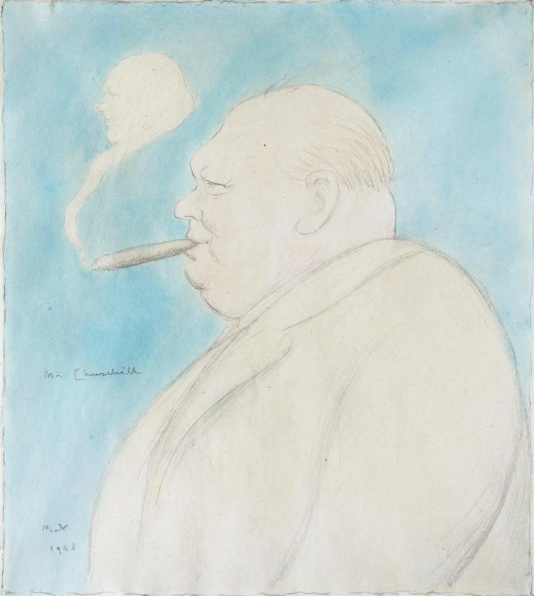 BEERBOHM, 'MR CHURCHILL', PENCIL AND WATERCOLOUR, 1943