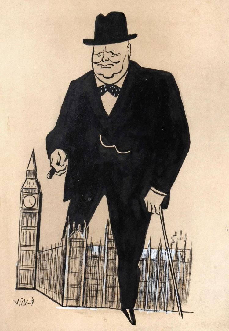 VICKY, 'WINSTON CHURCHILL IN CONQUERING THE HOUSE', INK, [N.D]