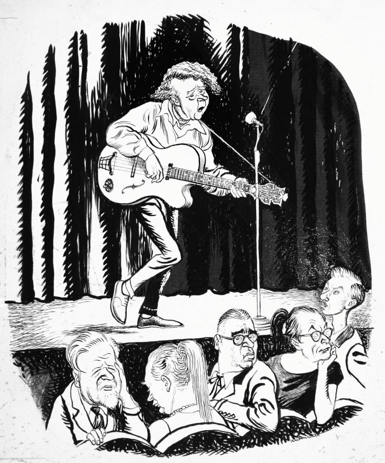ILLINGWORTH, 'SINGIN' THE BLUES', INK AND MONOCHROME WATERCOLOUR, 1958