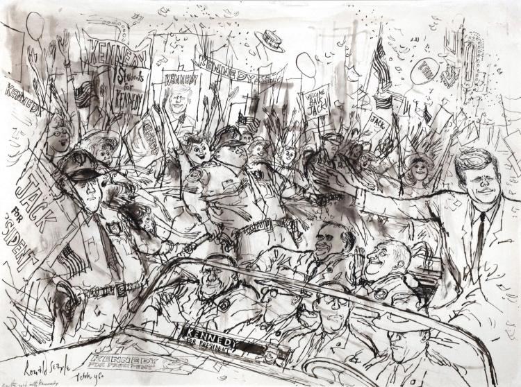 SEARLE, 'ON THE ROAD WITH KENNEDY', INK AND MONOCHROME WATERCOLOUR, 1960
