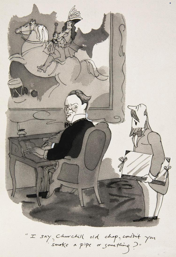 FFOLKES, 'I SAY, CHURCHILL OLD CHAP', INK AND MONOCHROME WATERCOLOUR, 1977