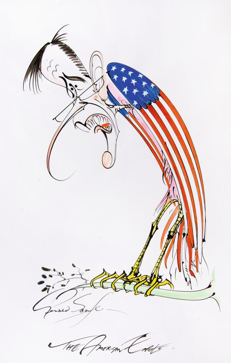 SCARFE, 'THE AMERICAN EAGLE', INK AND WATERCOLOUR, [N.D.]