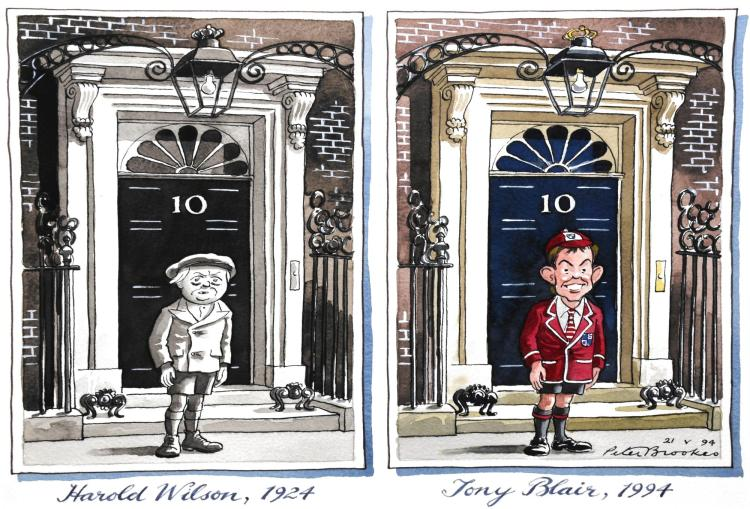 BROOKES, 'HAROLD WILSON, 1924 – TONY BLAIR, 1994', INK AND WATERCOLOUR, 1994