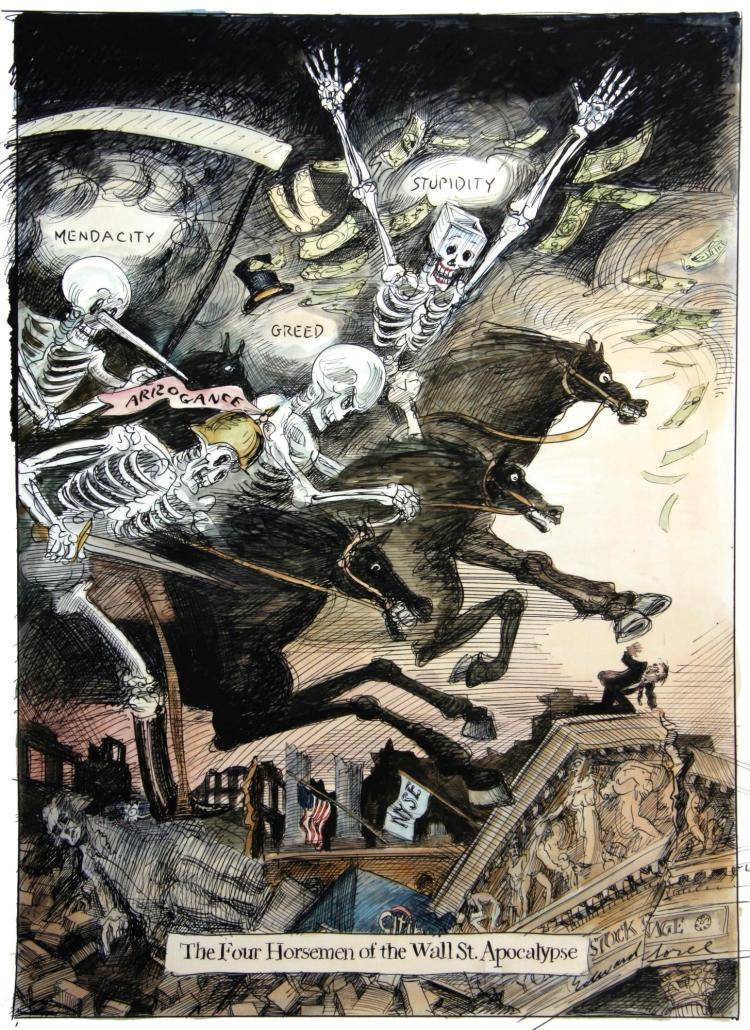 SOREL, 'THE FOUR HORSEMEN OF THE WALL ST APOCALYPSE', INK AND WATERCOLOUR, 2009