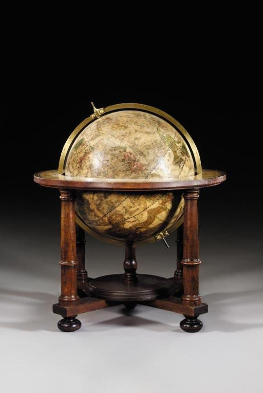 A RARE PAIR OF 12-INCH TABLE GLOBES, GEORG CHRISTOPH EIMMART, GERMAN, CIRCA 1705