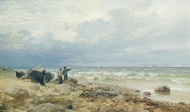 ANDERS ANDERSEN-LUNDBY (DANISH 1841-1923) FISHERMEN ON THE SHORE