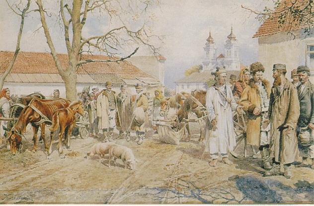 ANTONI KOZAKIEWICZ (POLISH 1841-1929) A MARKET SCENE