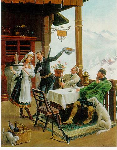 LOUIS THEOPHILE HINGRE (FRENCH D. 1911) LE REPOS DES CHASSEURS