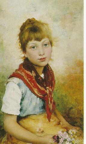 LEO MALEMPRE (BRITISH FL. 1887-1901) YOUNG GIRL WITH FLOWERS