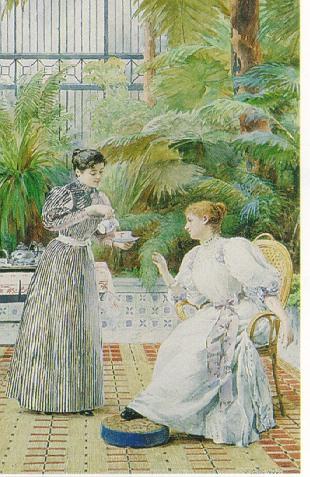 LOUIS EMILE ADAN (FRENCH 1839-1937) TEA ON THE VERANDAH