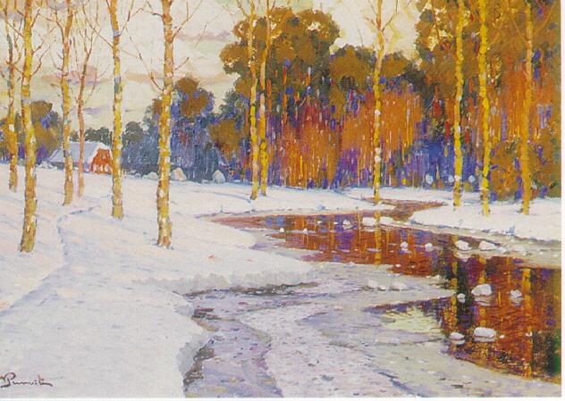 VILHELMS PURVITIS (LATVIAN B.1872) A SNOWY LANDSCAPE