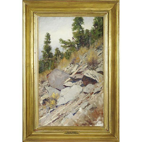 Charles John Fritz , b. 1955 Rock Slide oil on canvas
