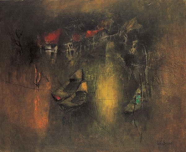 Lebadang b. 1921 , Les Bateaux (Boats) oil on canvas