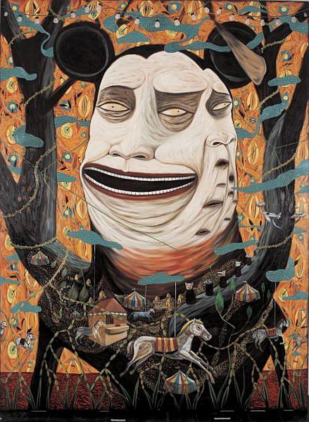 Rodel Tapaya b. 1980 , The Carnival acrylic on canvas
