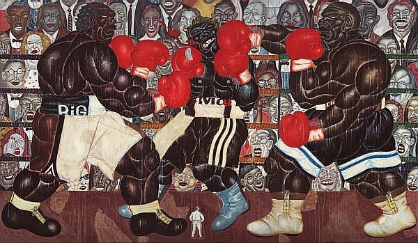 I Nyoman Masriadi b. 1973 , The Man From Bantul (The Final Round) mixed media on canvas